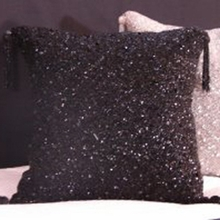 Black Sparkle Beaded Throw Pillow