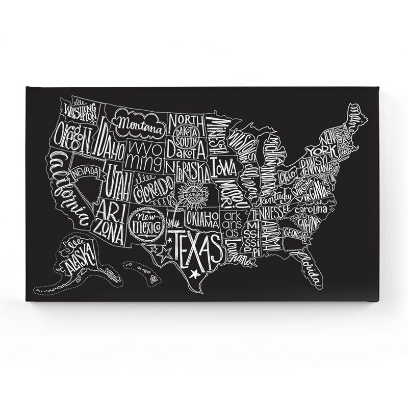 District17 Black Tie US Map Canvas Wall Art Canvas Wall Art