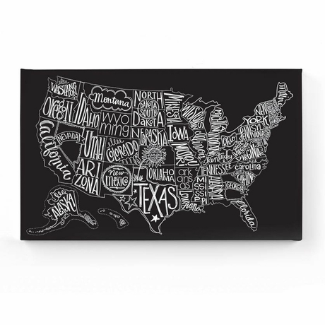 District Black Tie US Map Canvas Wall Art Canvas Wall Art - Us map canvas