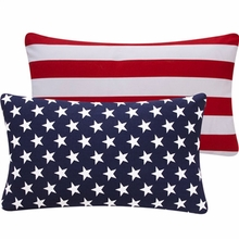 Blue and Red USA Lumbar Pillow
