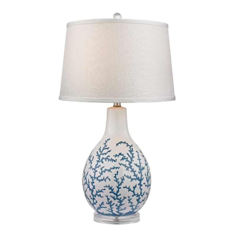 district17 blue coral ceramic table lamp with acrylic base lamps. Black Bedroom Furniture Sets. Home Design Ideas