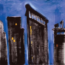 Blue Silhouette Cityscape Canvas Art