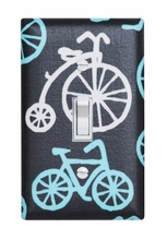Blue Vintage Bicycle Light Switch Plate Cover