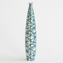Blue Wheels Tall Skinny Vase