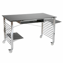 Brian Desk On Casters in Black and Chrome