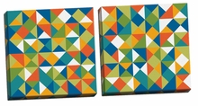 Bright Geometrics I, II Canvas Wall Art Set
