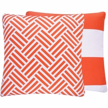 Bright Orange Stripe Large Throw Pillow