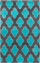 Bright Trellis Rug in Aqua and Gray