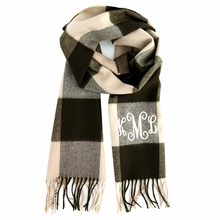 Brown Check Monogram Cashmere-Feel Scarf