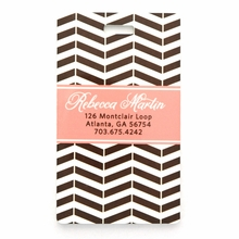 Brown Modern Chevron Personalized Luggage Tag Set