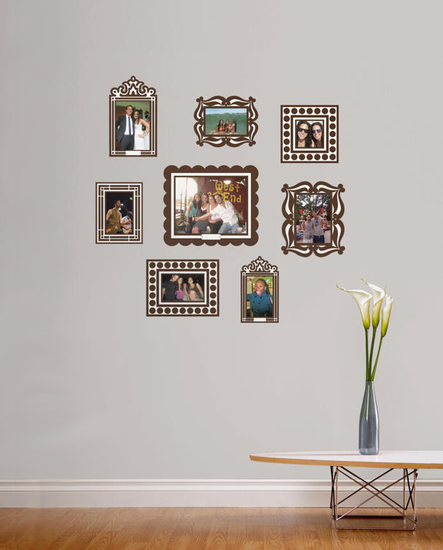 brown wall sticker frame set