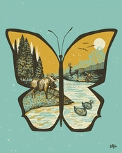 Butterfly Mountain Poster Wall Decal