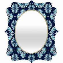 Butterfly Ornamental Blue Quatrefoil Mirror
