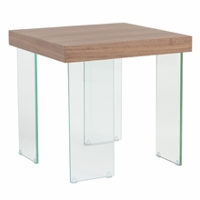 Cabrio Side Table in Clear and Walnut