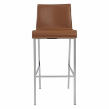 Cam Bar Stool in Cognac and Chrome - Set of 2