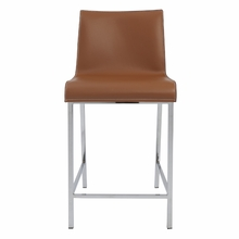 Cam Counter Stool in Cognac and Chrome - Set of 2