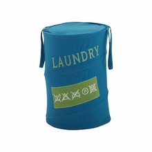 Care Instructions Laundry Hamper in Blue