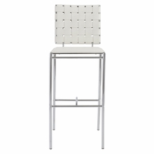 Carina Bar Chair in White and Chrome - Set of 2