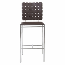 Carina Counter Chair in Brown and Chrome - Set of 2