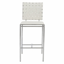 Carina Counter Chair in White and Chrome - Set of 2