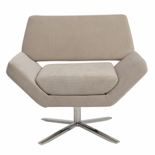 Carlotta Lounge Chair in Tan and Stainless Steel