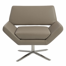 Carlotta Lounge Chair in Taupe and Stainless Steel