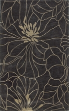 Charcoal and Taupe Floral Chic Rug