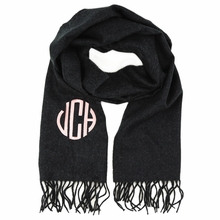 Charcoal Monogram Cashmere-Feel Scarf