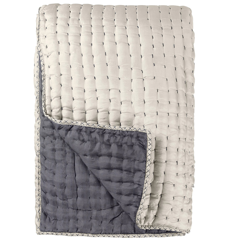 District17: Chenevard Silver & Slate Reversible Silk Quilt: Quilts ... : silk quilted coverlet - Adamdwight.com