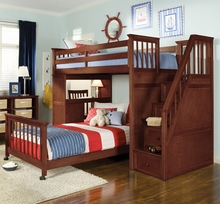 Merlot Kadyn Twin Loft with Steps and Desk