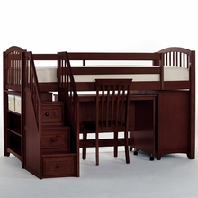 Merlot Kadyn All-In-One Twin Low Loft with Steps