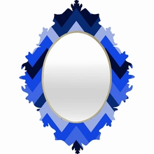 Chevron Blue Baroque Mirror