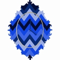 Chevron Blue Baroque Wall Clock