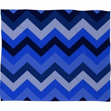Chevron Blue Fleece Throw Blanket