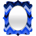 Chevron Blue Quatrefoil Mirror