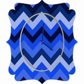 Chevron Blue Quatrefoil Wall Clock