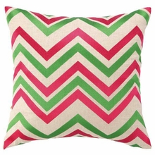 Chevron Embroidered Pillow in Pink and Green
