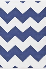 Chevron Indoor/Outdoor Rug in Denim and White
