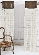 Chichi Ivory Petal with Velvet Header Window Curtain