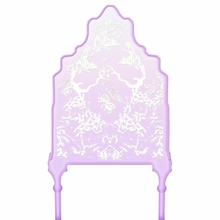 Chinoiserie Curvy Lavender & Ivory Headboard Wall Decal for Twin Bed