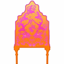 Chinoiserie Curvy Orange & Purple Headboard Wall Decal for Twin Bed