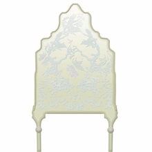 Chinoiserie Curvy Soft Taupe & Blue Headboard Wall Decal for Twin Bed