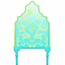 Chinoiserie Curvy Turquoise & Lime Headboard Wall Decal for Twin Bed