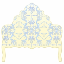 Chinoiserie Pale Butter & Blue Headboard Wall Decal