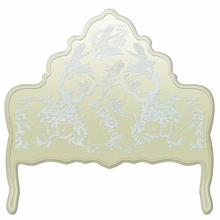 Chinoiserie Soft Taupe & Blue Headboard Wall Decal