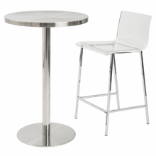 Chloe Counter Stool in Clear and Chrome - Set of 2