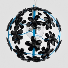 Chloe Neon Blue Black Crystal Flower Chandelier