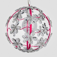 Chloe Neon Fuchsia Clear Crystal Flower Chandelier