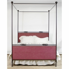 Chloe Upholstered Iron Queen Canopy Bed
