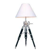 Chrome and Black Studio Table Lamp With White Shade